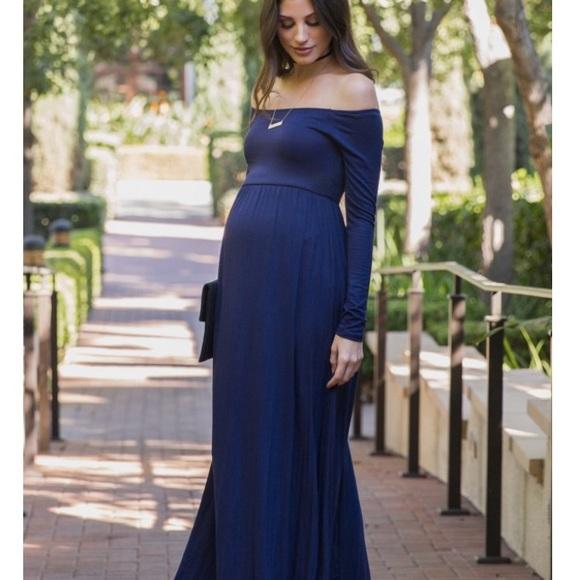 Pinkblush Dresses & Skirts - Navy off the shoulder maternity maxi dress